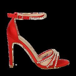 Sandali rossi in raso con strass argento, tacco stiletto 11 cm, Scarpe, 132120689RSROSS039, 001a