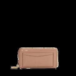 Portafoglio rosa nude  in ecopelle vernice con 10 vani, Saldi, 125709023VENUDEUNI, 001a