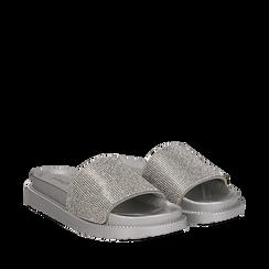 Zeppe da mare argento in pvc con strass, Scarpe, 134700045PVARGE035, 002a