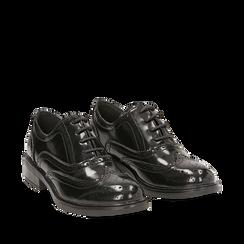 Stringate nere in eco-pelle abrasivata con lavorazione Duilio, Scarpe, 140618203ABNERO035, 002a