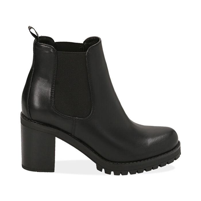Botines Chelsea negro, tacón 8 cm , PROMOCIONES, 160637851EPNERO040