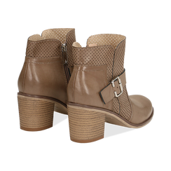 Ankle boots taupe in eco-pelle con gambale traforato, tacco 7 cm, Scarpe, 130682987EPTAUP040, 004 preview