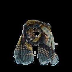 Pashmina marrone in tessuto stampa patchwork, Abbigliamento, 14B404027TSMARR3XL, 002a