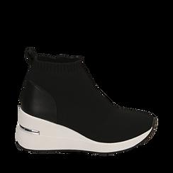 Slip-on nere in tessuto tecnico, zeppa interna 3,50 cm, Sneakers, 157516533TSNERO035, 001a