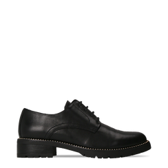 Francesine stringate nera con mini-borchie  , Scarpe, 120691312EPNERO040, 001a