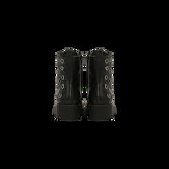 Anfibi neri con dettagli metal, tacco basso, Scarpe, 120639026EPNERO, 003 preview