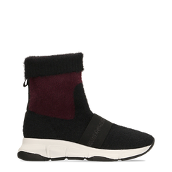 Sneakers nero-rosse sock boots con suola in gomma bianca, 124109763TSNERS036, 001a