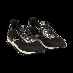 Sneakers nere glitter con dettagli effetto mirror,