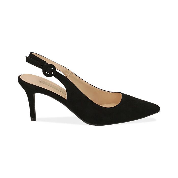 Slingback negro de microfibra, tacón 7 cm, Zapatos, 172133673MFNERO037