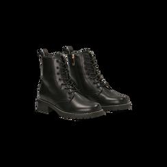 Anfibi neri con mini-borchie, tacco basso, Scarpe, 120691311EPNERO, 002 preview