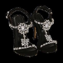 Sandali gioiello neri in microfibra, tacco 11,50 cm , Scarpe, 152131530MFNERO035, 002a