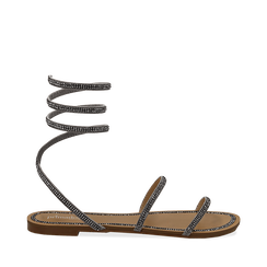 Sandali flat argento in microfibra e strass, Primadonna, 134981122MPARGE036, 001a