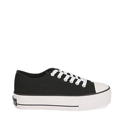 Sneakers nere in canvas, Sneakers, 152619385CANERO035, 001a