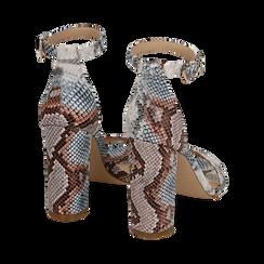 Sandali celesti stampa pitone, tacco 10,5 cm, Primadonna, 152709444PTCELE039, 004 preview