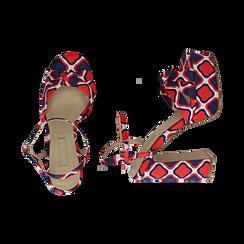 Sandali rossi in raso optical print, tacco 12 cm, Sandali con tacco, 152133401RSROSS036, 003 preview