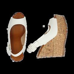 Sandali bianchi in eco-pelle, zeppa 12 cm , Scarpe, 154907982EPBIAN035, 003 preview
