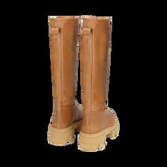 Stivali chunky cuoio in pelle di vitello, tacco 4 cm, Primadonna, 16A500050VICUOI038, 003 preview