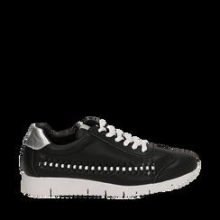 Sneakers nere in eco-pelle , Scarpe, 130609571EPNERO035, 001a