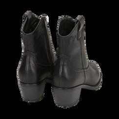 Ankle boots neri in eco-pelle, tacco 4,50 cm, Stivaletti, 150693111EPNERO036, 004 preview