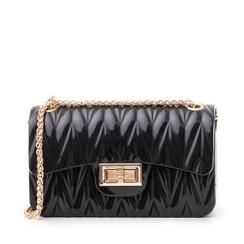 Mini-bag nera in pvc, Saldi Estivi, 137409999PVNEROUNI, 001a
