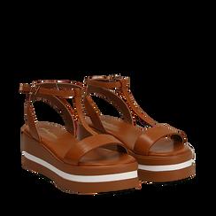 Sandali platform cuoio in eco-pelle, zeppa 5 cm , Scarpe, 132147513EPCUOI035, 002a