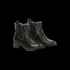 Chelsea Boots neri con mini-borchie, tacco basso, Scarpe, 129309823EPNERO, 002 preview