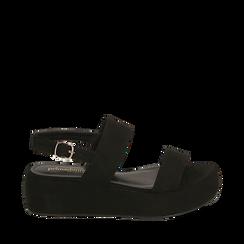 Sandali neri in microfibra, zeppa 5 cm , Zapatos, 159790136MFNERO036, 001a