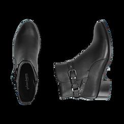 Ankle boots neri in eco-pelle, tacco 4 cm , Scarpe, 143098118EPNERO036, 003 preview