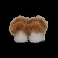 Sneakers bianche con ricami animalier e dettagli in faux-fur, Primadonna, 126102020EPBIAN036, 003 preview