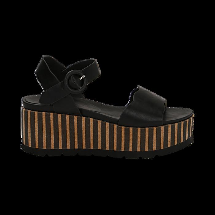 Sandali platform neri in eco-pelle, zeppa optical 7,50 cm , Primadonna, 134901231EPNERO035
