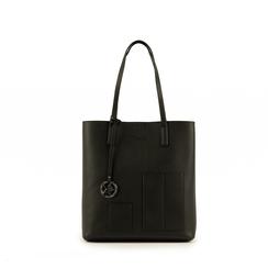 Shopper nera in eco-pelle, Primadonna, 153782784EPNEROUNI, 001a