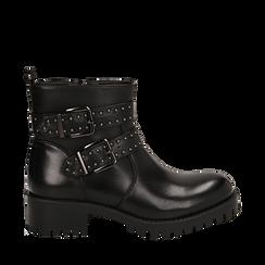 Biker boots con fibbie e borchie neri in eco-pelle, tacco 4,5 cm , Scarpe, 143069629EPNERO035, 001a
