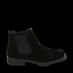 Chelsea boots neri in camoscio, Stivaletti, 141611243CMNERO035, 001a