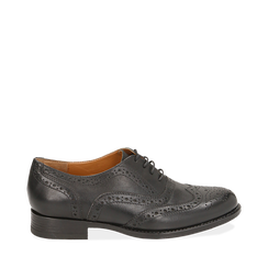 Oxford de piel en color negro, Zapatos, 159908418PENERO035, 001a
