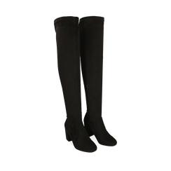 Overknee neri in microfibra, tacco 7,5 cm , Scarpe, 143021702MFNERO036, 002a