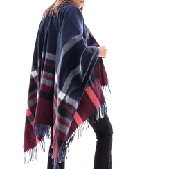 Poncho blu a righe in tessuto , Abbigliamento, 14B404073TSBLUE3XL, 002a