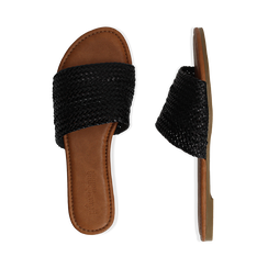 Mules flat nere in eco-pelle intrecciata, Saldi, 133600110EINERO036, 003 preview