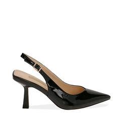 Slingback negro de charol, tacón 8 cm,  Zapatos, 174823795VENERO035, 001a