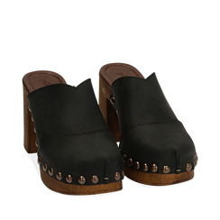 Clogs neri in nabuk , Chaussures, 154304861NBNERO036, 002a