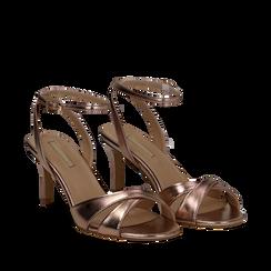 Sandali rosa in laminato, tacco 7 cm, Primadonna, 134819206LMROSA035, 002a