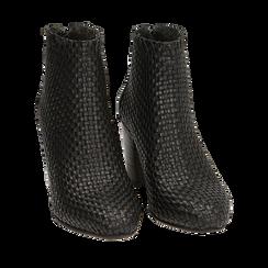 Bottines noires en cuir tressé, talon 7,50 cm, Primadonna, 15C515018PINERO036, 002a