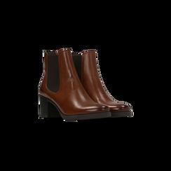 Chelsea Boots in vera pelle colore cuoio, tacco medio 6 cm, Scarpe, 127711422PECUOI035, 002