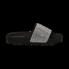 Ciabattine nere in pvc con strass, Saldi Estivi, 134700002PVNERO036, 001 preview