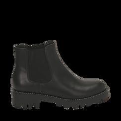 Chelsea boots neri in eco-pelle, Scarpe, 140692720EPNERO036, 001a