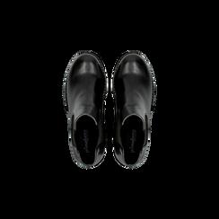 Chelsea Boots neri, tacco medio 7 cm, Scarpe, 120800819EPNERO, 004 preview
