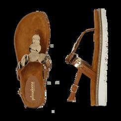Sandali infradito cuoio in eco-pelle con suola bianca, Primadonna, 134922304EPCUOI, 003 preview