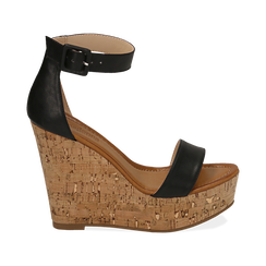 Sandali neri, zeppa 12 cm, Scarpe, 154981001EPNERO, 001 preview