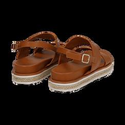 Sandali platform cuoio in eco-pelle, zeppa 4 cm, Saldi, 132172081EPCUOI036, 004 preview