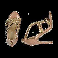 Sandalias en charol con tachas color nude, tacón 11,50 cm , OPORTUNIDADES, 152100920VENUDE037, 003 preview