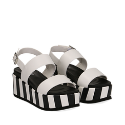Sandali platform bianchi in eco-pelle, zeppa optical 7 cm , Scarpe, 134894399EPBIAN036, 002a